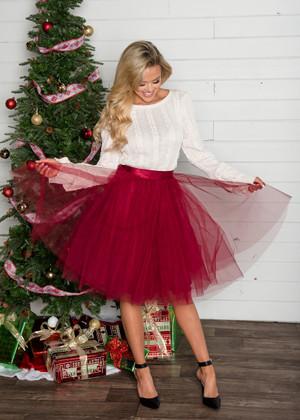 Flirty in Burgundy Tulle Skirt CLEARANCE