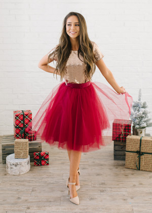 Flirty in Burgundy Tulle Skirt