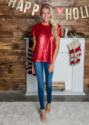 Rock the Night Away Sequins Top Red