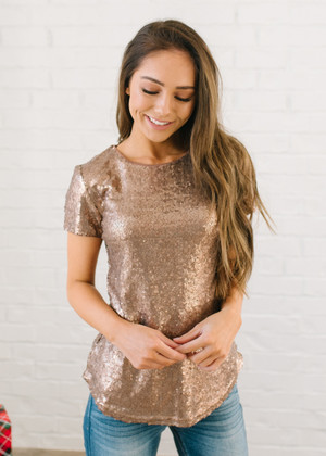 f60fb82d806c40 Rock the Night Away Sequins Top Bronze Gold