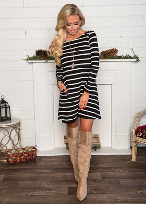 (Cyber Monday) Casual Striped Pocket Dress Black