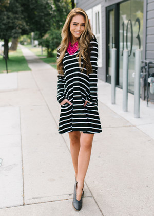 Casual Striped Pocket Dress Black