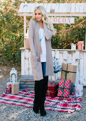 Long Open Pocket Cardigan Mocha CLEARANCE