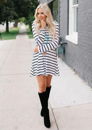 Casual Striped Pocket Dress White