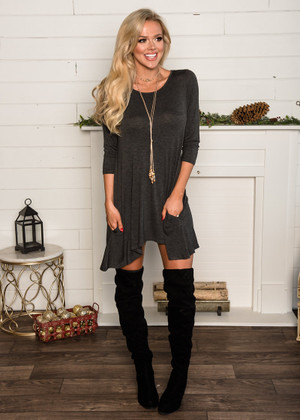 Comfy Swing Pocket Shark Bite Tunic Top Charcoal CLEARANCE