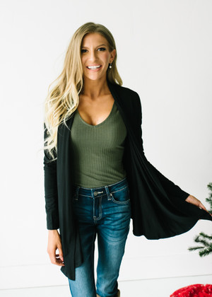 (Cyber Monday) Perfect Yet Simple Open Ruffle Cardigan Black