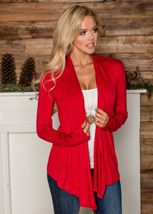 Perfect Yet Simple Open Ruffle Cardigan Red CLEARANCE