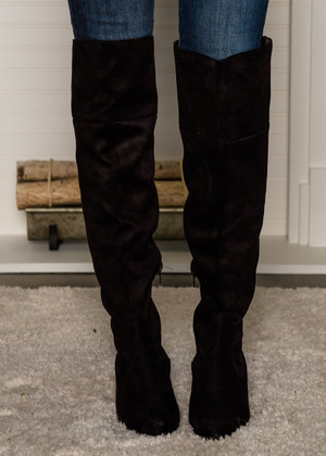 Suede Fold Over Knee High Boots Black CLEARANCE