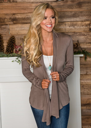 (Cyber Monday) Perfect Yet Simple Open Ruffle Cardigan Mushroom