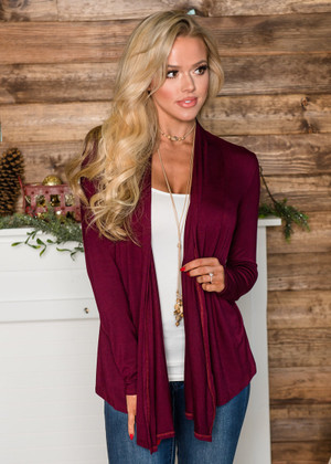 Perfect Yet Simple Open Ruffle Cardigan Wine CLEARANCE