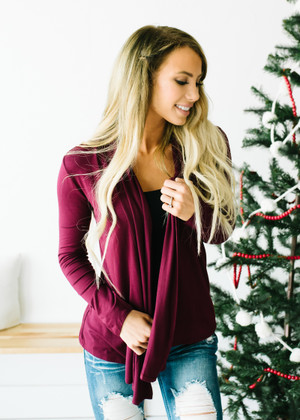 (Cyber Monday) Perfect Yet Simple Open Ruffle Cardigan Wine