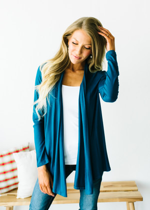 (Cyber Monday) Perfect Yet Simple Open Ruffle Cardigan Teal