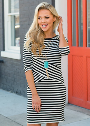 Soft Modal Knit Striped Criss Cross Dress CLEARANCE