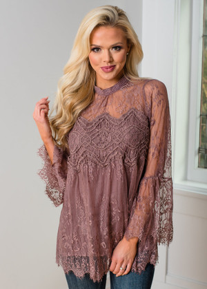 Beautiful Crochet Lace Scalloped Belle Sleeve Top Mocha
