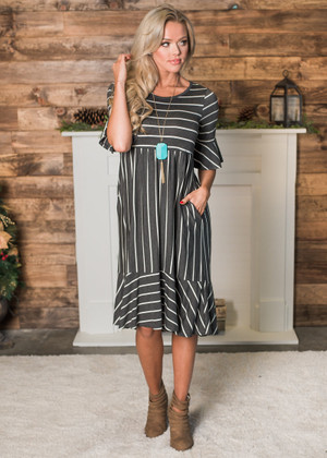 Ruffles and Stripes Midi Dress Charcoal