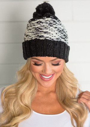 Chunky Weaved Knitted Pom Pom Beanie Black CLEARANCE