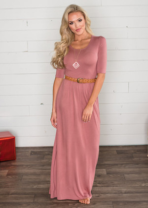 Soft Transitional 3/4 Sleeve Maxi Dusty Rose CLEARANCE