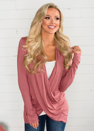 So Soft Draped Top Dusty Rose CLEARANCE