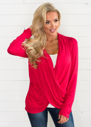 So Soft Draped Top Red CLEARANCE