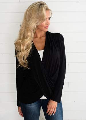 So Soft Draped Top Black CLEARANCE