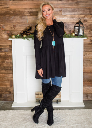 Soft Long Sleeved Ruffles Tunic Top Black CLEARANCE