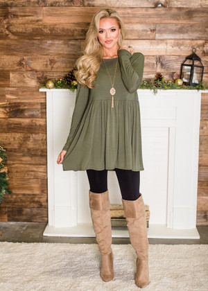 Soft Long Sleeved Ruffles Tunic Top Light Olive CLEARANCE
