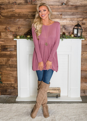 Soft Long Sleeved Ruffles Tunic Top Dusty Rose CLEARANCE