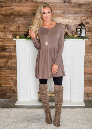 Soft Long Sleeved Ruffles Tunic Top Mocha CLEARANCE