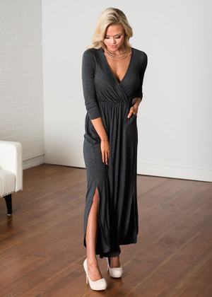 Soft Empire Pleated Pocket Relaxed Round Hem Maxi Gray CLEARANCE