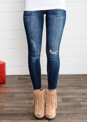 Kayla's Favorite Dark Washed Distressed Frayed Jeans
