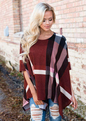 Kiss Me Slowly Rust Plaid Poncho