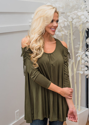 Open Shoulder Cinched Tie Detailed Sleeve Top Olive CLEARANCE