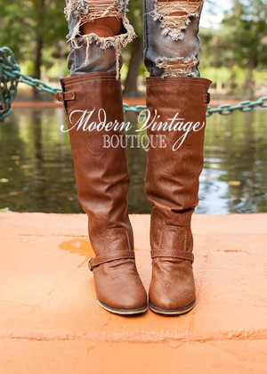 Outlaw Zipper Back Boots Tan CLEARANCE