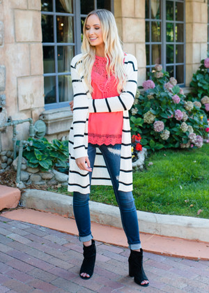Tracy Ribbed Long Striped Cardigan White/Black