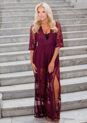To Die For Gypsy Lace Sheer Maxi Dress Burgundy