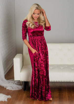 Beautiful Velvet Pocket Maxi Dress Burgundy