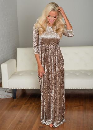Beautiful Velvet Pocket Maxi Dress Mocha