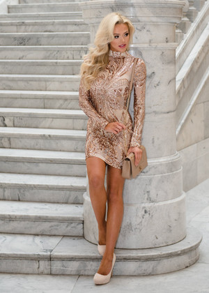 All That Shimmers Sequins Sheer Rose Gold Dress