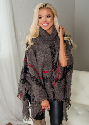 Boho Plaid Fringed Cowl Neck Poncho Charcoal