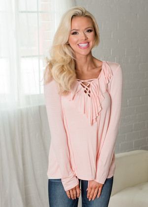 It's The Simple Things Ruffle Criss Cross Top Pink
