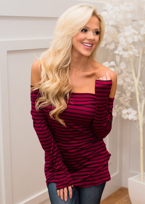 Here I Go Again Striped Off The Shoulder Top Burgundy