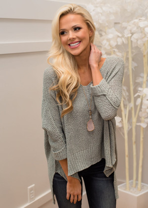 Afternoon Tea High Low Sweater Top Slate