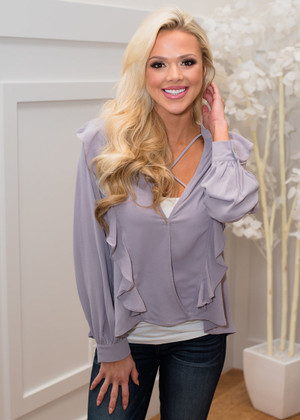 I'm So In To You Ruffled Criss Cross Top Gray CLEARANCE