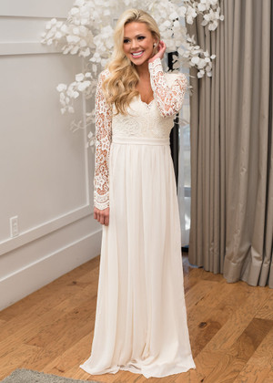 (Pre-Sale) From Now On Lace Scalloped Chiffon Open Back Maxi Beige