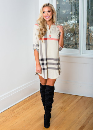 Wild In Plaid High Low Dress Cream