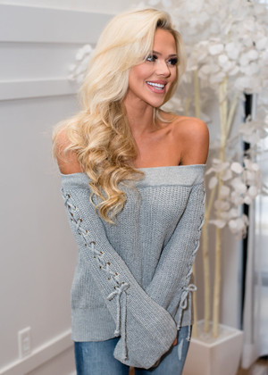 The Sweetheart Off Shoulder Lace Up Belle Sleeve Top Gray CLEARANCE