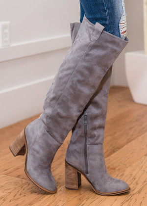 Comes In Waves Knee High Suede Boots Gray CLEARANCE