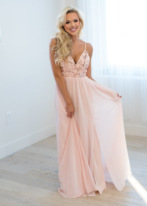 When The Clock Strikes Midnight Chiffon Sequins Maxi Blush
