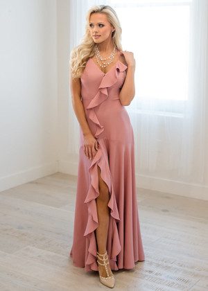 Let It Lead Your Love Ruffle Trim High Low Maxi Blush