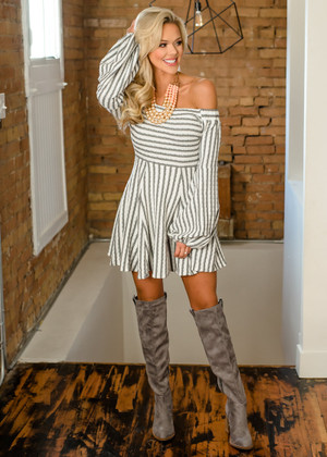 You Are The Dream Striped Off Shoulder Dress Gray/White